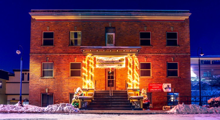 Able to Play Music, this is our building. Decorated by the landlord for Christmas!!! able-to-play-mu