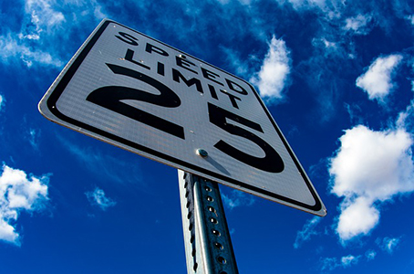 Speed limit sign: slow down when you practice!